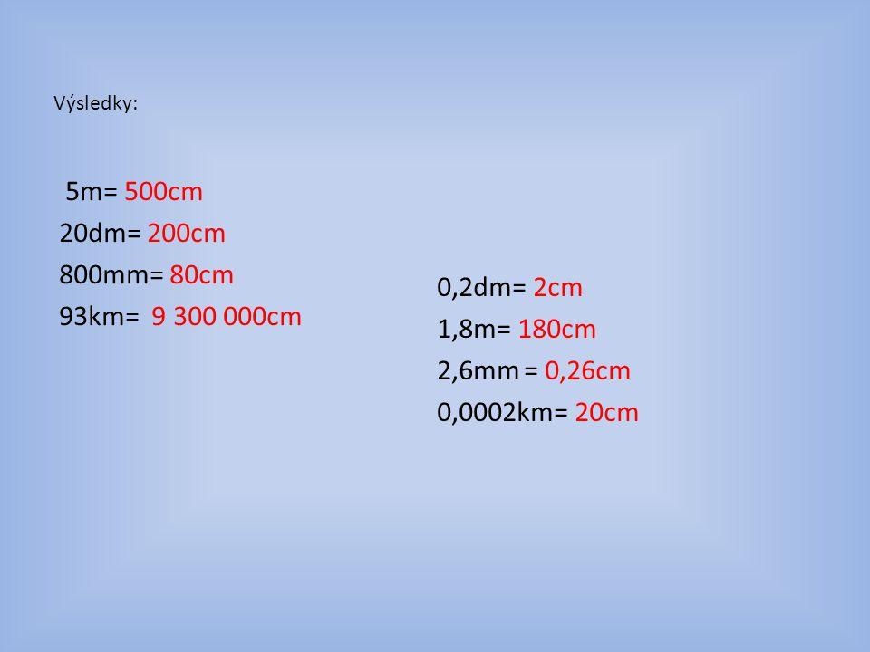 Výsledky: 5m= 500cm 20dm= 200cm 800mm= 80cm 93km= 9 300 000cm 0,2dm= 2cm 1,8m= 180cm 2,6mm= 0,26cm 0,0002km= 20cm