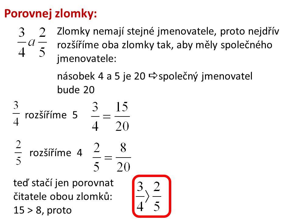 Porovnej zlomky: Zlomky nemají stejné jmenovatele, proto nejdřív rozšíříme oba zlomky tak, aby měly společného jmenovatele: násobek 4 a 5 je 20  spol