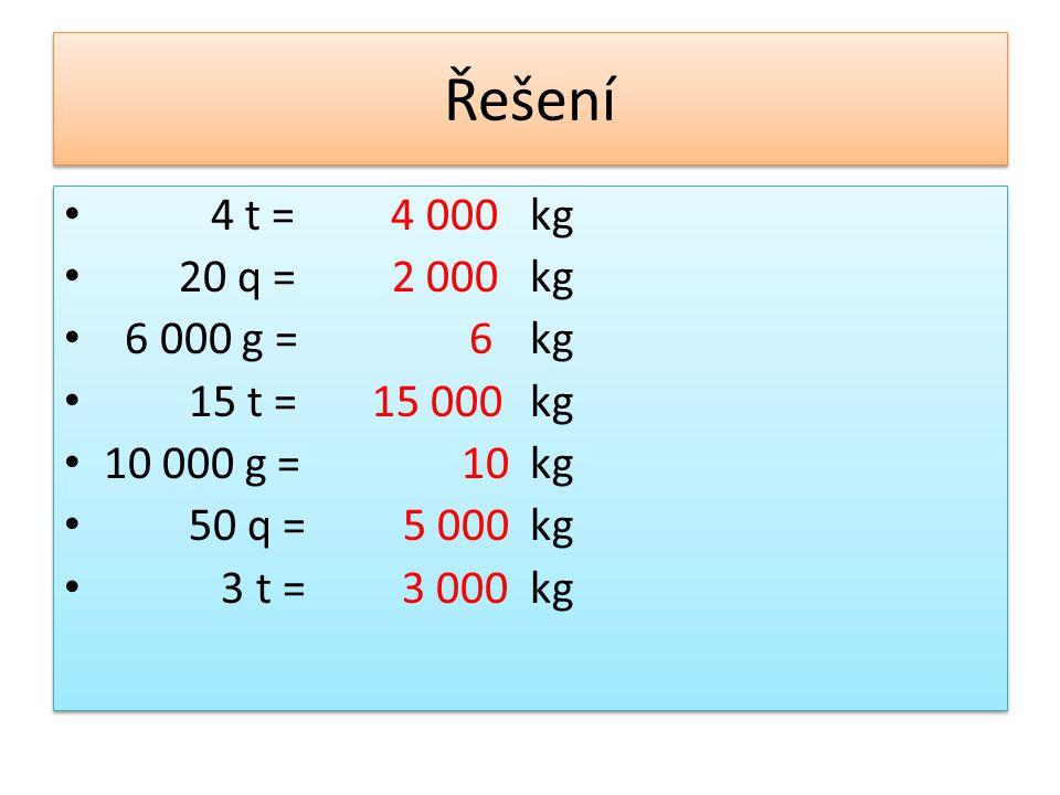 Řešení 4 t = 4 000 20 q = 2 000 6 000 g = 6 15 t = 15 000 10 000 g = 10 50 q = 5 000 3 t = 3 000 kg 4 t = 4 000 20 q = 2 000 6 000 g = 6 15 t = 15 000 10 000 g = 10 50 q = 5 000 3 t = 3 000 kg