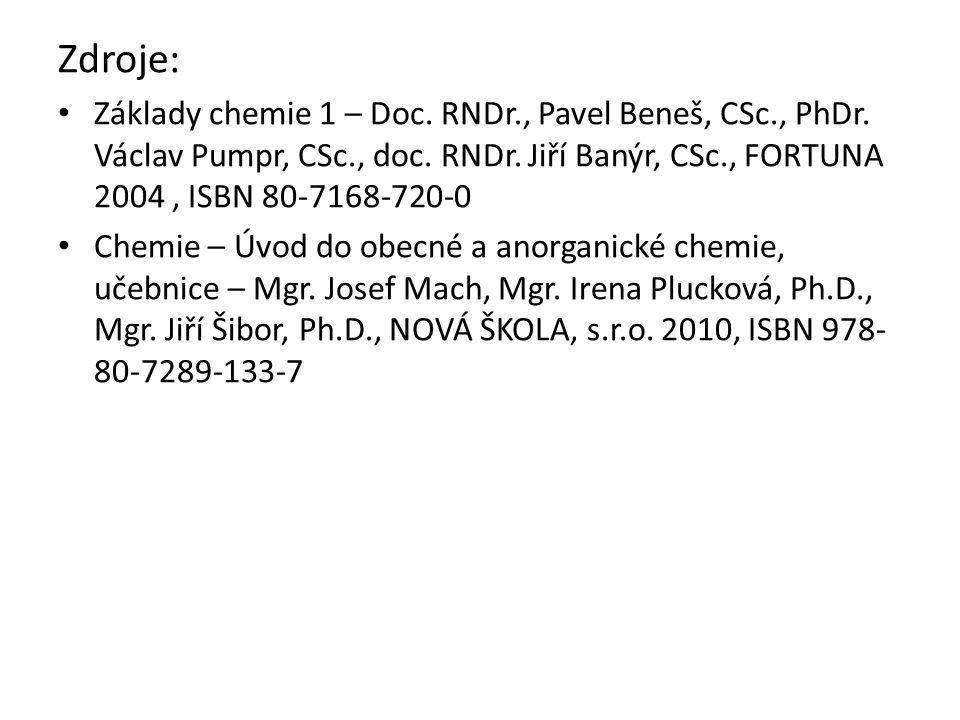 Zdroje: Základy chemie 1 – Doc. RNDr., Pavel Beneš, CSc., PhDr.