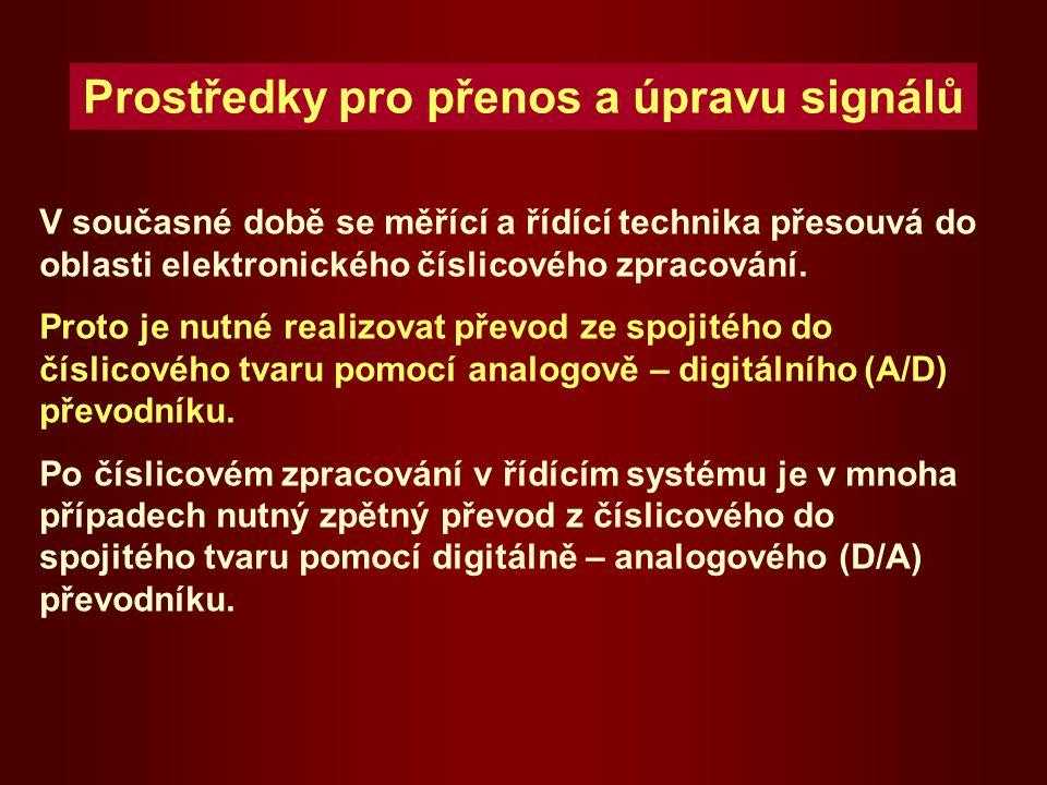 Prostředky pro přenos a úpravu signálů V současné době se měřící a řídící technika přesouvá do oblasti elektronického číslicového zpracování.