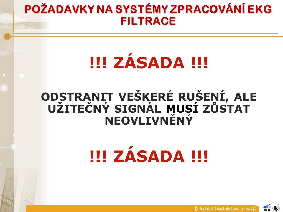 © Institut biostatistiky a analýz PO Ž ADAVKY NA SYSTÉMY ZPRACOVÁNÍ EKG FILTRACE !!.