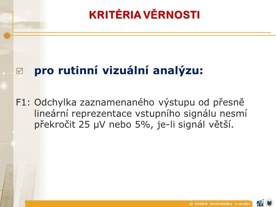 © Institut biostatistiky a analýz KRITÉRIA V Ě RNOSTI  pro rutinní vizuální analýzu: F1:Odchylka zaznamenaného výstupu od přesně lineární reprezentace vstupního signálu nesmí překročit 25 μV nebo 5%, je-li signál větší.
