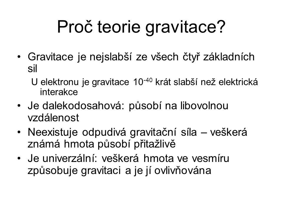 Proč teorie gravitace? Gravitace je nejslabší ze všech čtyř základních sil U elektronu je gravitace 10 -40 krát slabší než elektrická interakce Je dal