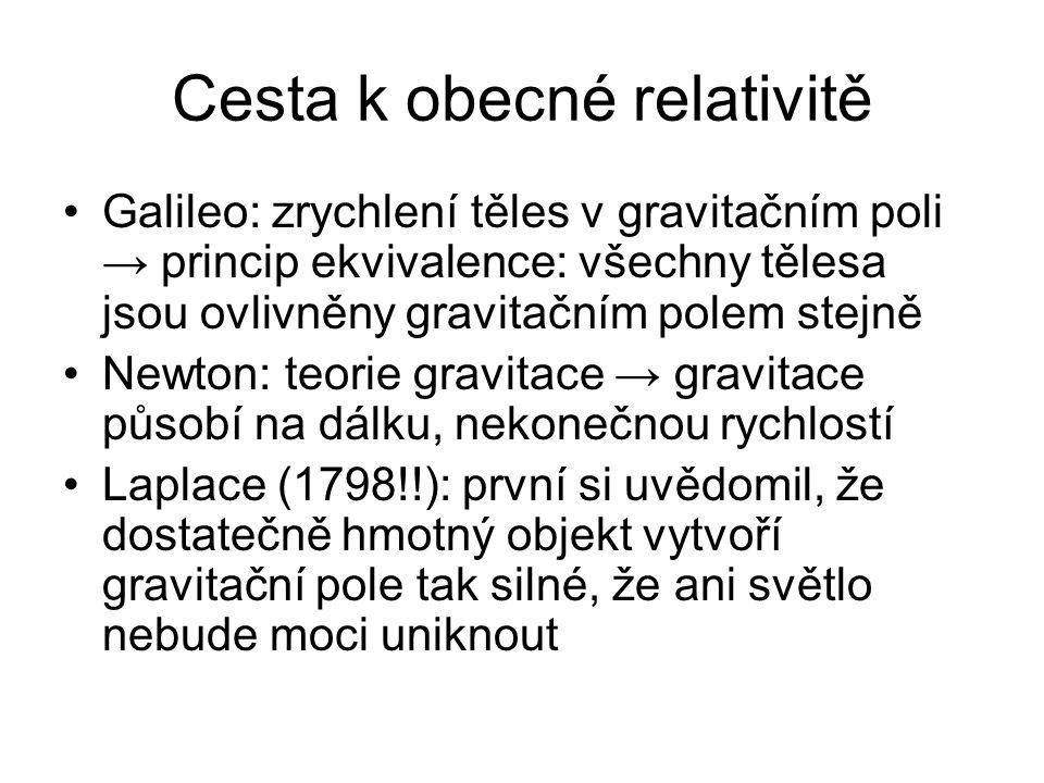 Cesta k obecné relativitě Galileo: zrychlení těles v gravitačním poli → princip ekvivalence: všechny tělesa jsou ovlivněny gravitačním polem stejně Newton: teorie gravitace → gravitace působí na dálku, nekonečnou rychlostí Laplace (1798!!): první si uvědomil, že dostatečně hmotný objekt vytvoří gravitační pole tak silné, že ani světlo nebude moci uniknout