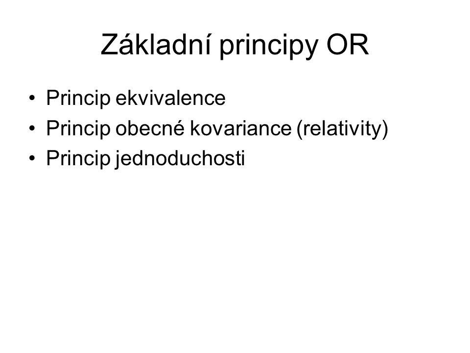 Základní principy OR Princip ekvivalence Princip obecné kovariance (relativity) Princip jednoduchosti