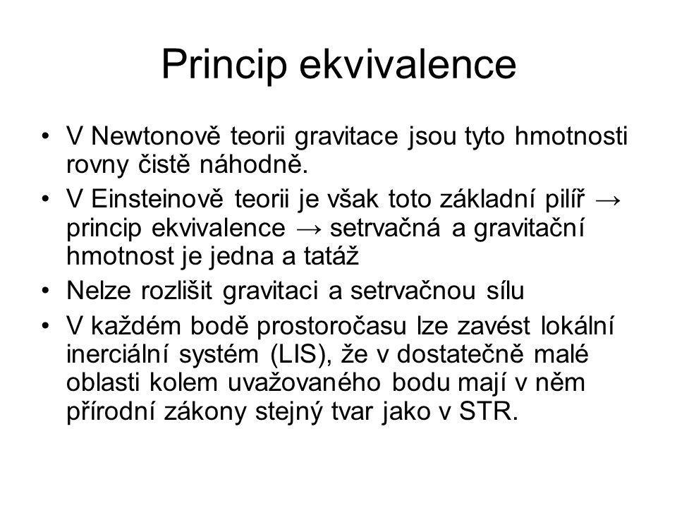 Princip ekvivalence V Newtonově teorii gravitace jsou tyto hmotnosti rovny čistě náhodně. V Einsteinově teorii je však toto základní pilíř → princip e