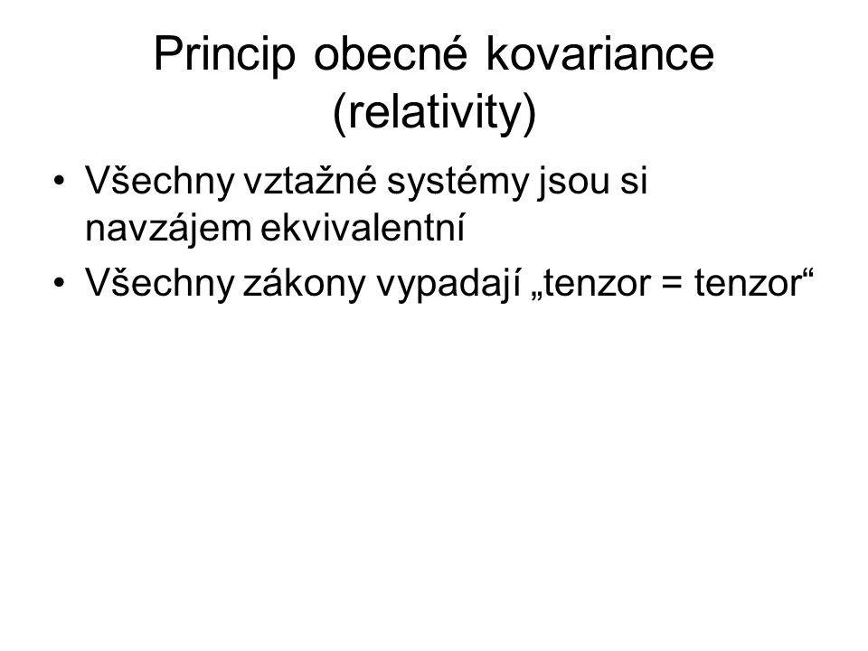 """Princip obecné kovariance (relativity) Všechny vztažné systémy jsou si navzájem ekvivalentní Všechny zákony vypadají """"tenzor = tenzor"""