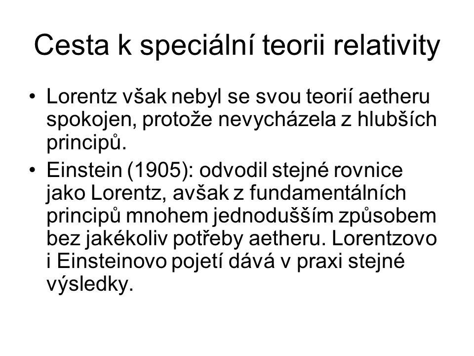 Cesta k speciální teorii relativity Lorentz však nebyl se svou teorií aetheru spokojen, protože nevycházela z hlubších principů. Einstein (1905): odvo