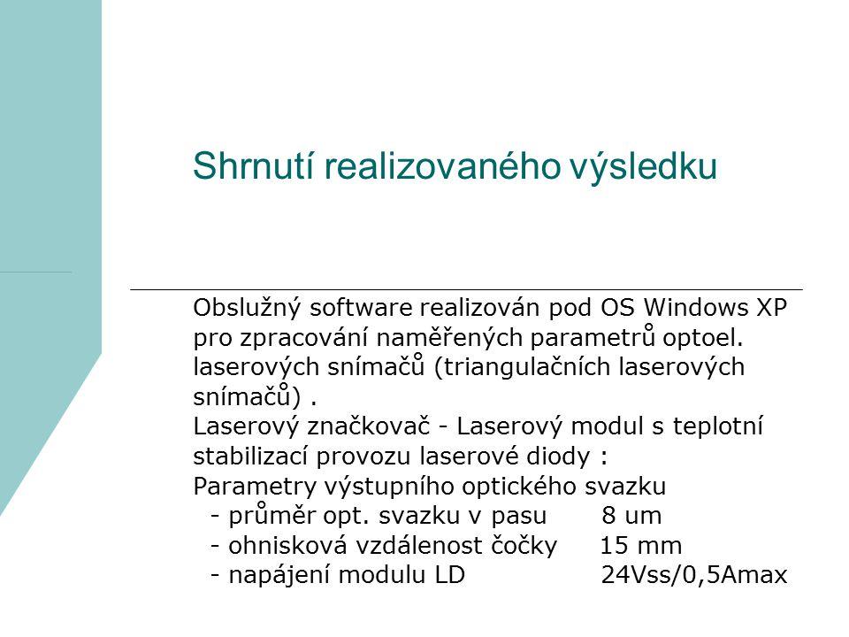 Shrnutí realizovaného výsledku Obslužný software realizován pod OS Windows XP pro zpracování naměřených parametrů optoel. laserových snímačů (triangul