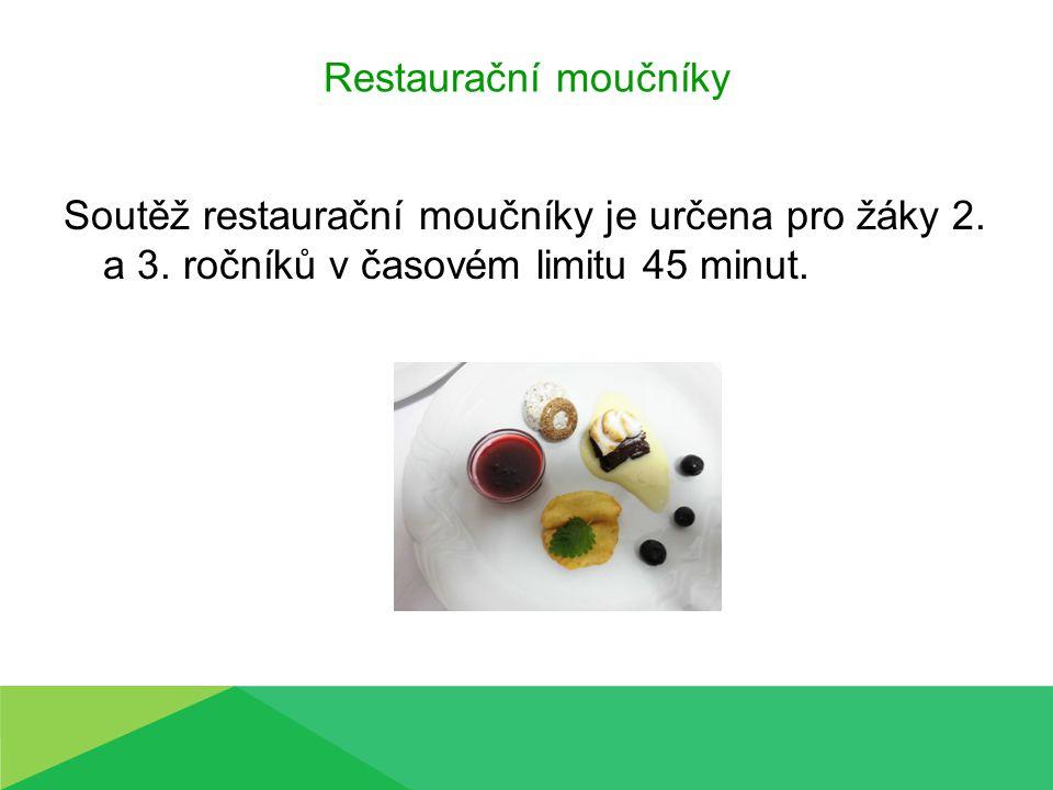Restaurační moučníky Soutěž restaurační moučníky je určena pro žáky 2. a 3. ročníků v časovém limitu 45 minut.