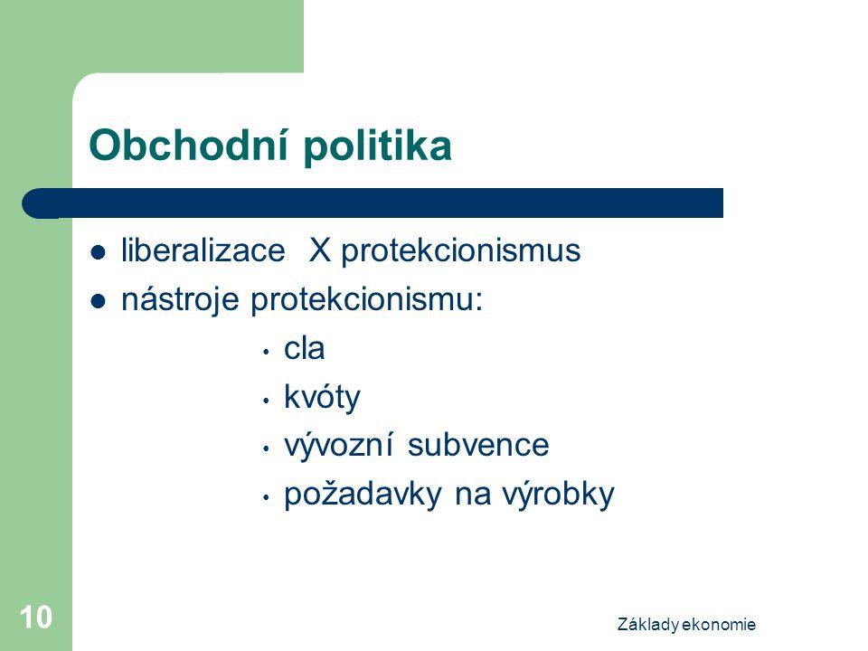 Základy ekonomie 10 Obchodní politika liberalizace X protekcionismus nástroje protekcionismu: cla kvóty vývozní subvence požadavky na výrobky