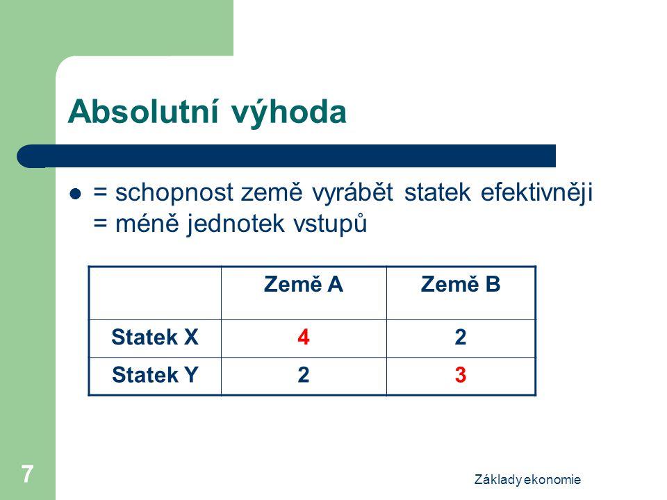 Základy ekonomie 7 Absolutní výhoda = schopnost země vyrábět statek efektivněji = méně jednotek vstupů Země AZemě B Statek X42 Statek Y23