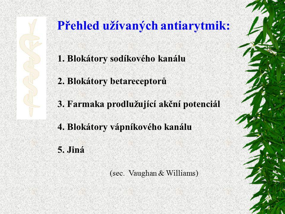 Přehled užívaných antiarytmik: 1.Blokátory sodíkového kanálu 2.