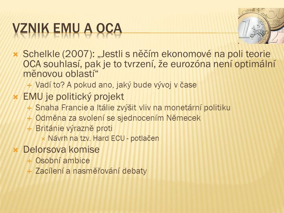 """ Schelkle (2007): """"Jestli s něčím ekonomové na poli teorie OCA souhlasí, pak je to tvrzení, že eurozóna není optimální měnovou oblastí  Vadí to."""