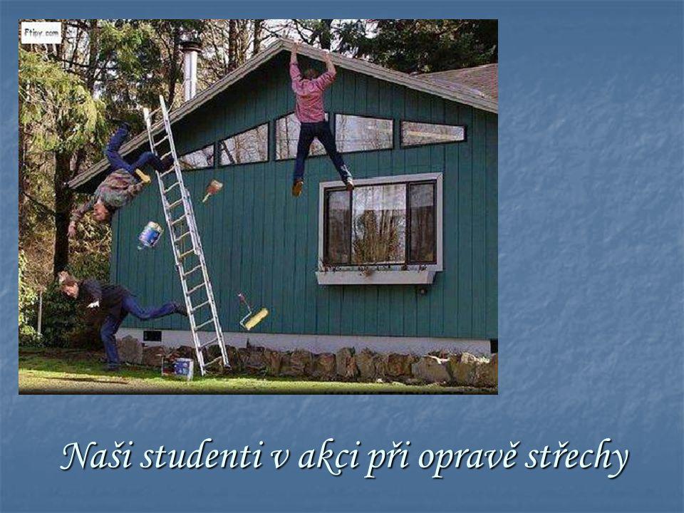Naši studenti v akci při opravě střechy