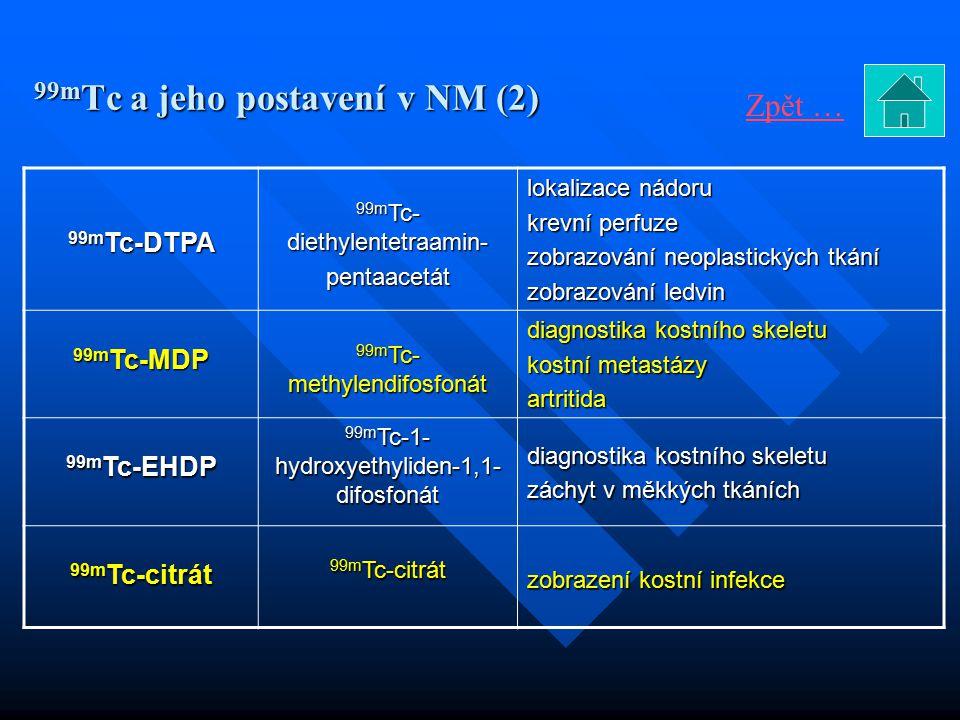 99m Tc a jeho postavení v NM (2) 99m Tc-DTPA 99m Tc- diethylentetraamin- pentaacetát lokalizace nádoru krevní perfuze zobrazování neoplastických tkání