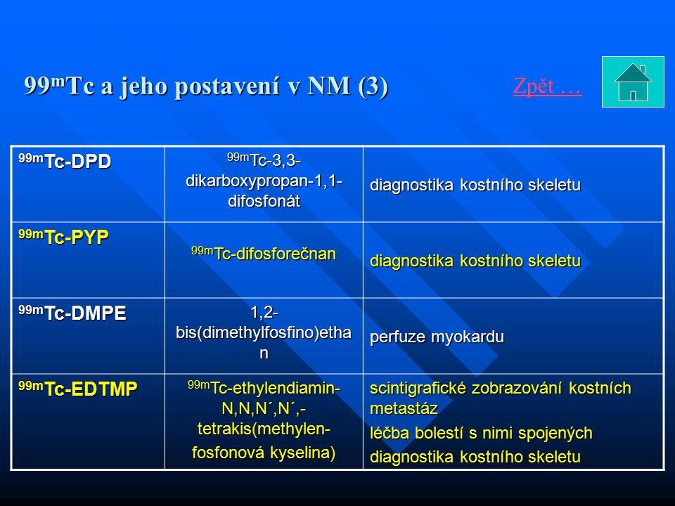 99 m Tc a jeho postavení v NM (3) 99m Tc-DPD 99m Tc-3,3- dikarboxypropan-1,1- difosfonát diagnostika kostního skeletu 99m Tc-PYP 99m Tc-difosforečnan