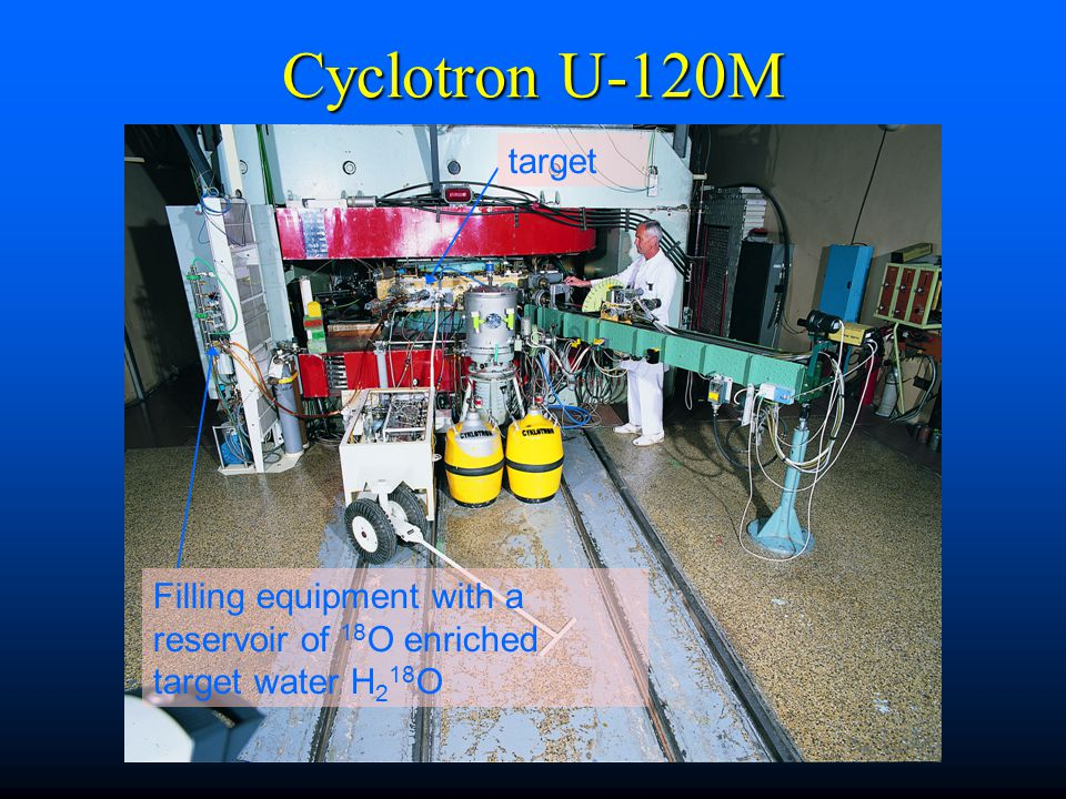 Cyclotron U-120M target Filling equipment with a reservoir of 18 O enriched target water H 2 18 O