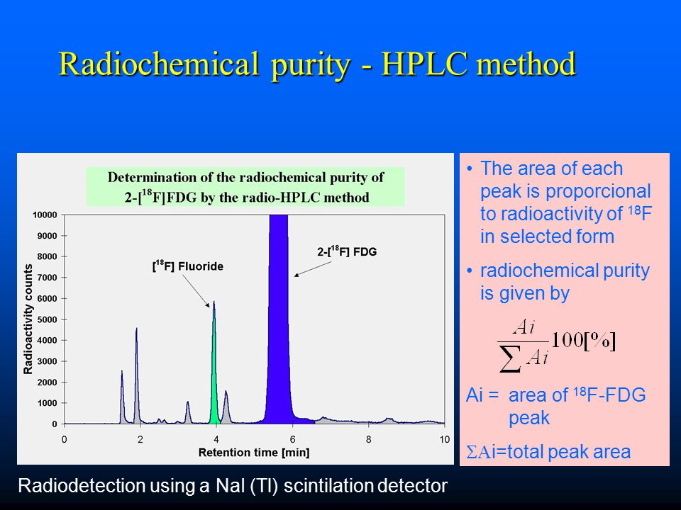 Radiochemical purity - HPLC method The area of each peak is proporcional to radioactivity of 18 F in selected form radiochemical purity is given by Ai = area of 18 F-FDG peak  i=total peak area Radiodetection using a NaI (Tl) scintilation detector