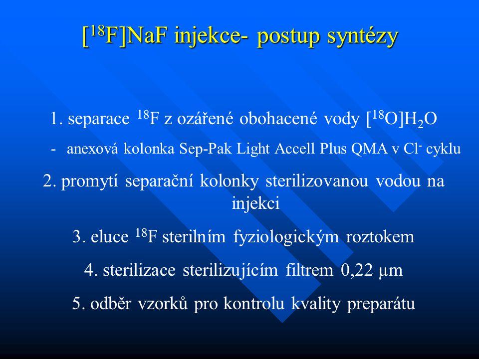 1. separace 18 F z ozářené obohacené vody [ 18 O]H 2 O -anexová kolonka Sep-Pak Light Accell Plus QMA v Cl - cyklu 2. promytí separační kolonky steril