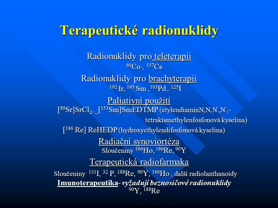 Terapeutické radionuklidy Radionuklidy pro teleterapii 60 Co, 137 Cs Radionuklidy pro brachyterapii 192 Ir, 145 Sm, 103 Pd, 125 I Paliativní použití [