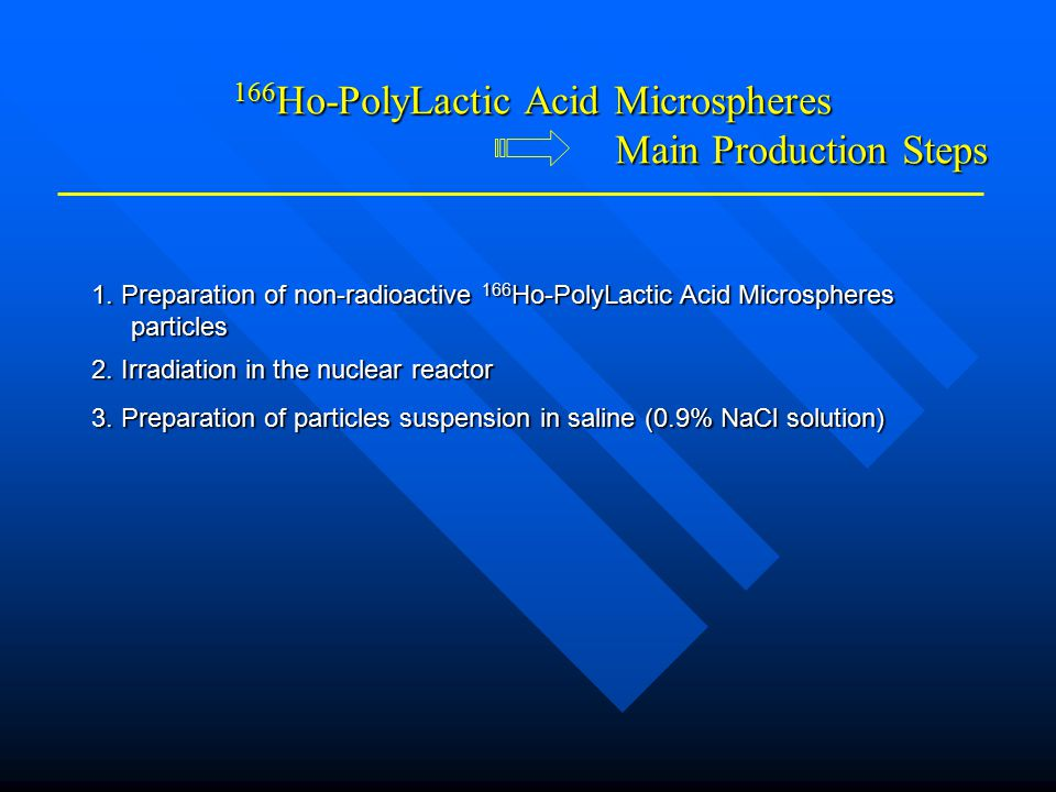 1.Preparation of non-radioactive 166 Ho-PolyLactic Acid Microspheres particles 2.