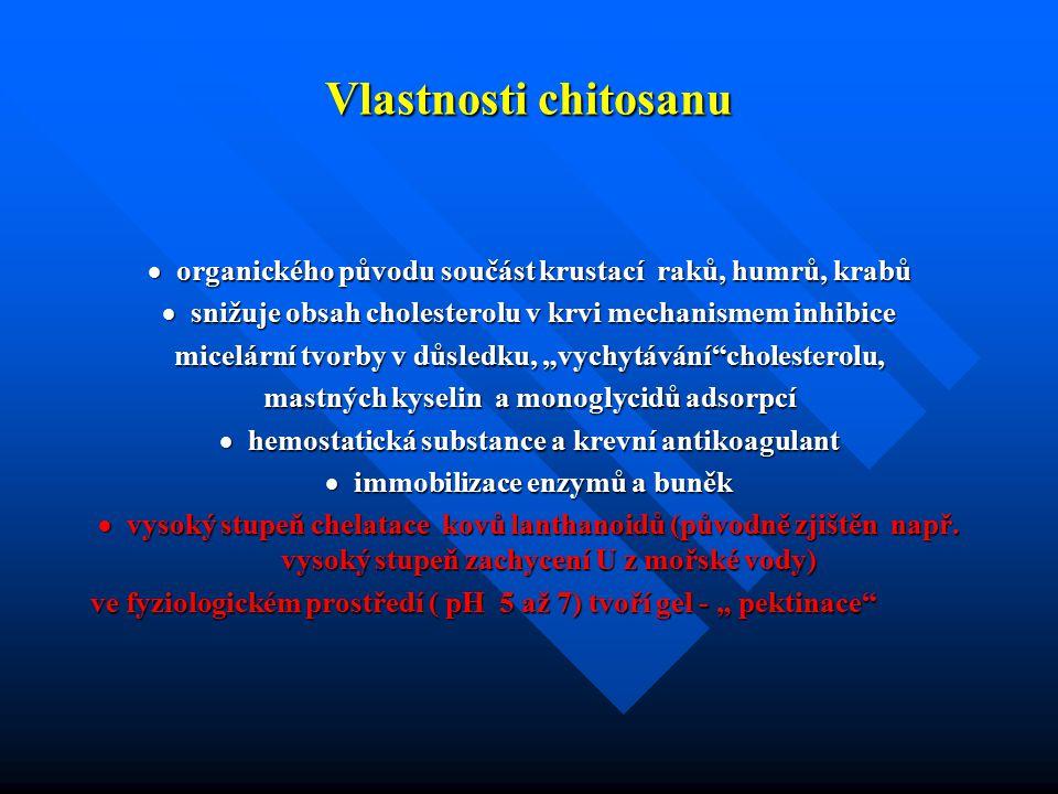 Vlastnosti chitosanu  organického původu součást krustací raků, humrů, krabů  snižuje obsah cholesterolu v krvi mechanismem inhibice micelární tvorb