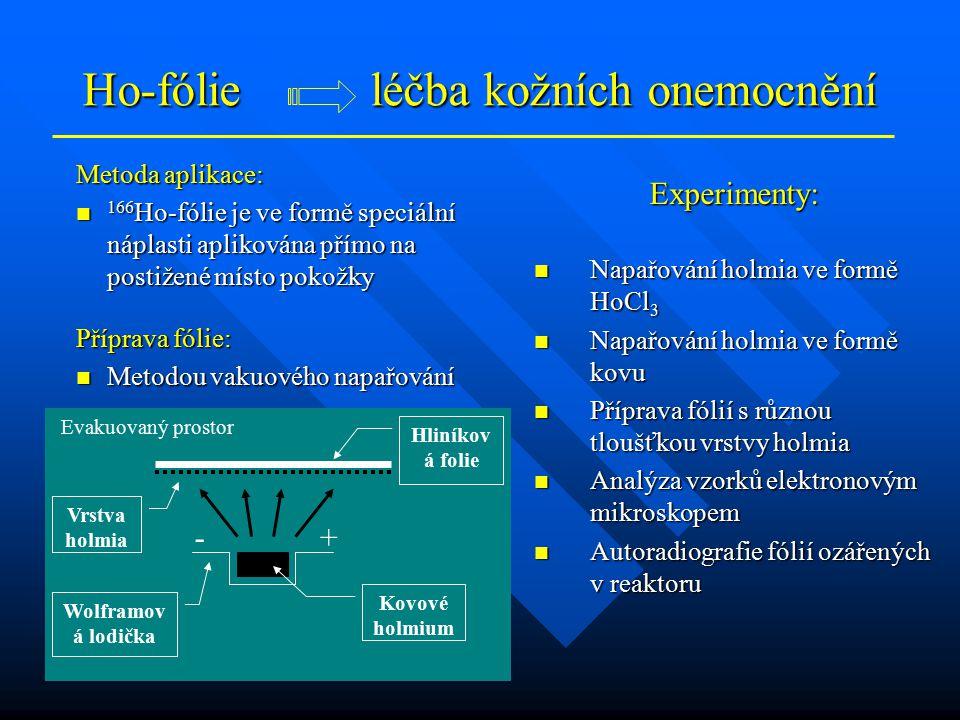Ho-fólie léčba kožních onemocnění Metoda aplikace: 166 Ho-fólie je ve formě speciální náplasti aplikována přímo na postižené místo pokožky 166 Ho-fóli