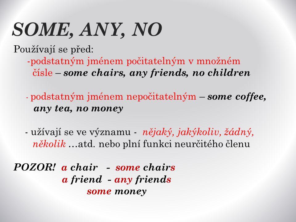 SOME, ANY, NO Používají se před: -podstatným jménem počitatelným v množném čísle – some chairs, any friends, no children - podstatným jménem nepočitatelným – some coffee, any tea, no money - užívají se ve významu - nějaký, jakýkoliv, žádný, několik …atd.