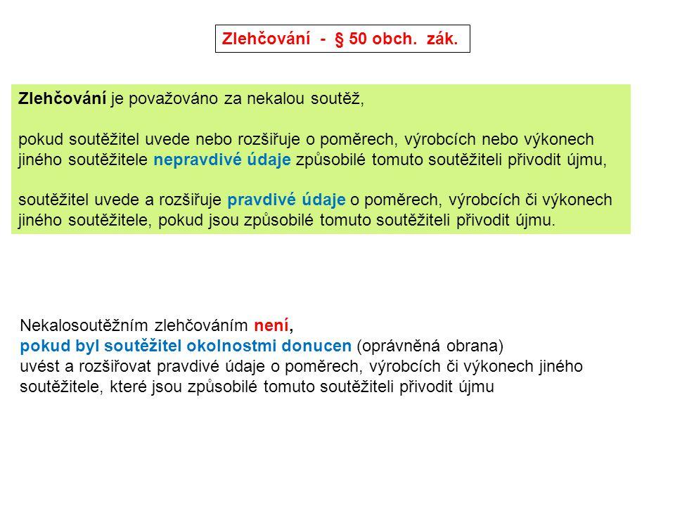 Srovnávací reklama - § 50a obch.zák. Definice srovnávací reklamy: (odst.