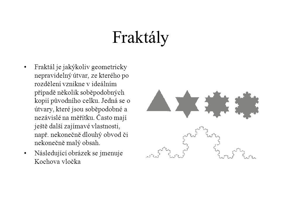 Fraktály Fraktál je jakýkoliv geometricky nepravidelný útvar, ze kterého po rozdělení vznikne v ideálním případě několik soběpodobných kopií původního celku.
