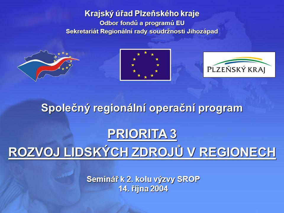 Krajský úřad Plzeňského kraje Odbor fondů a programů EU Sekretariát Regionální rady soudržnosti Jihozápad Společný regionální operační program PRIORIT