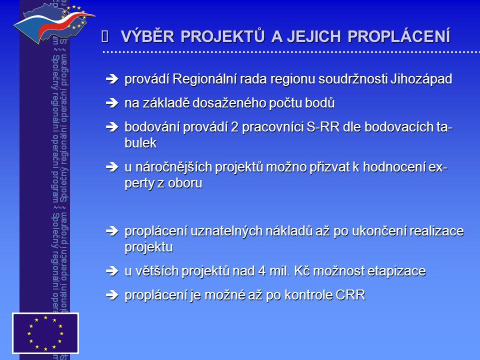   provádí Regionální rada regionu soudržnosti Jihozápad  na základě dosaženého počtu bodů  bodování provádí 2 pracovníci S-RR dle bodovacích ta- b
