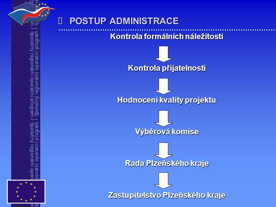  POSTUP ADMINISTRACE Kontrola formálních náležitostí Kontrola přijatelnosti Hodnocení kvality projektu Výběrová komise Rada Plzeňského kraje Zastupit