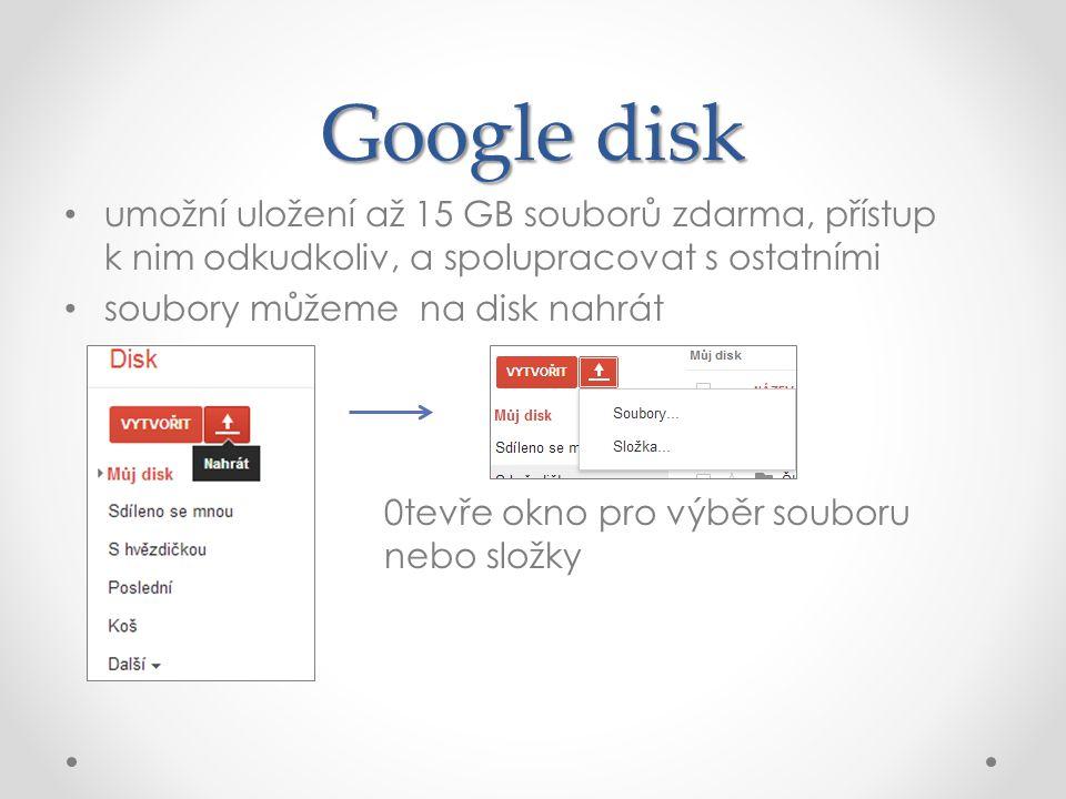 Google disk umožní uložení až 15 GB souborů zdarma, přístup k nim odkudkoliv, a spolupracovat s ostatními soubory můžeme na disk nahrát 0tevře okno pro výběr souboru nebo složky
