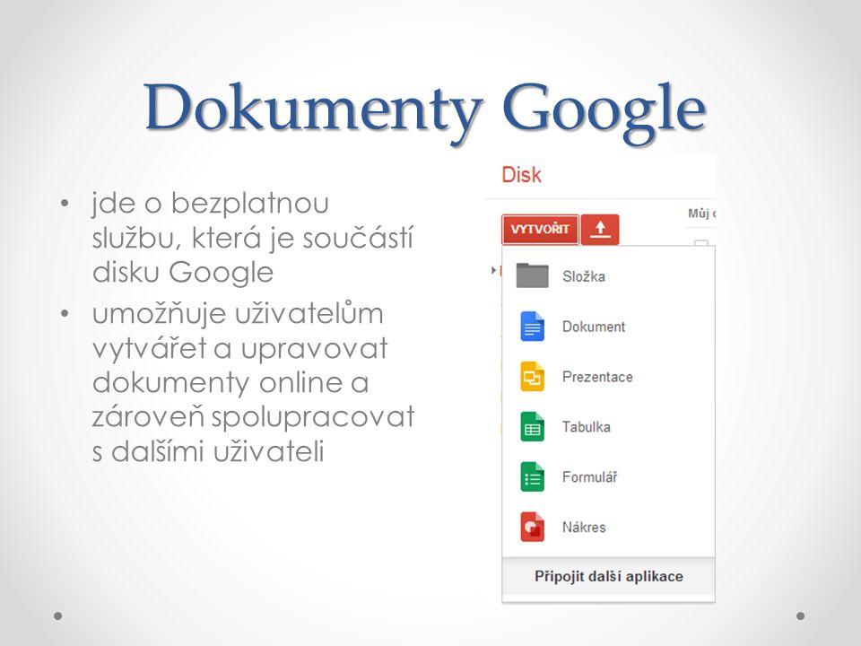 Dokumenty Google jde o bezplatnou službu, která je součástí disku Google umožňuje uživatelům vytvářet a upravovat dokumenty online a zároveň spolupracovat s dalšími uživateli