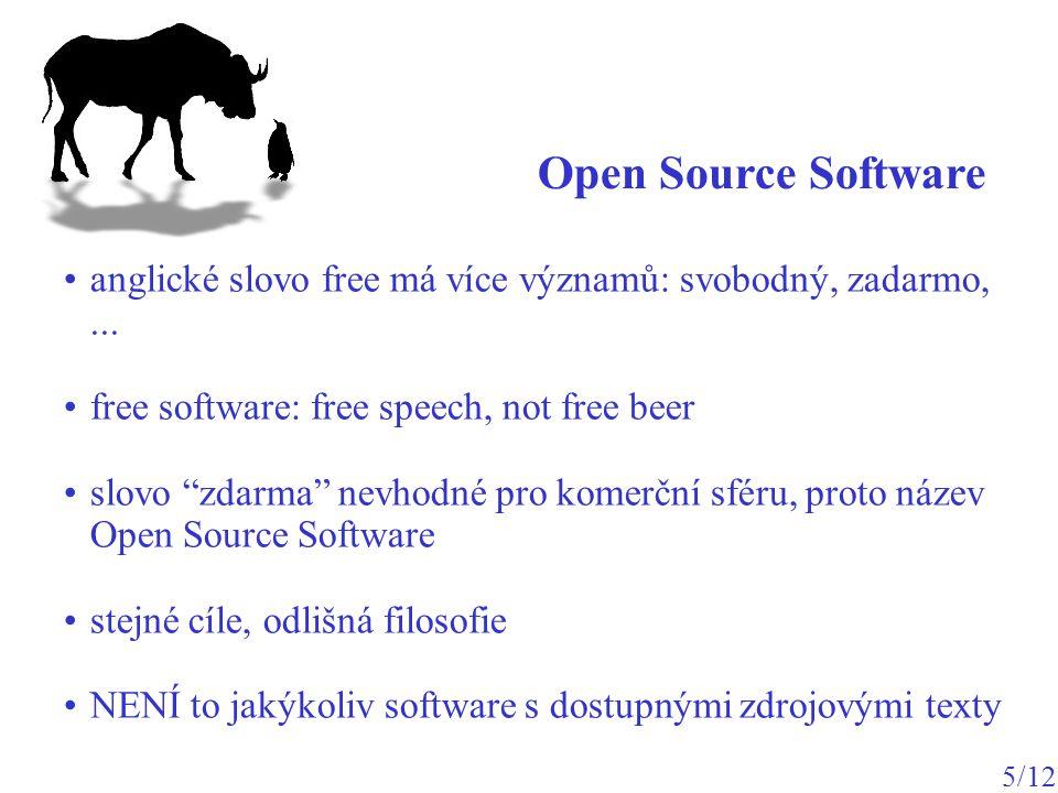 operační systém (OS) Linux – jádro OS: http://www.kernel.org GNU – aplikační software distribuce: jádro + řada aplikací http://www.debian.org http://www.knoppix.org GNU / Linux 6/12