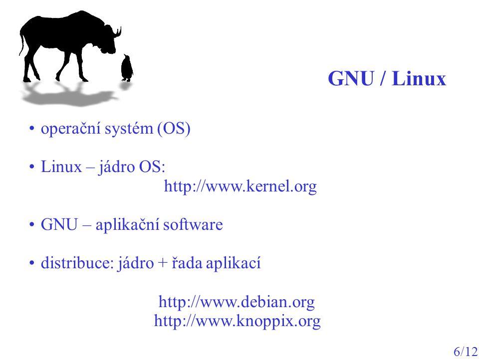 operační systém (OS) Linux – jádro OS: http://www.kernel.org GNU – aplikační software distribuce: jádro + řada aplikací http://www.debian.org http://w