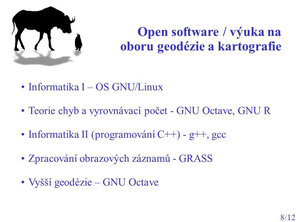Open software / výuka na oboru geodézie a kartografie 8/12 Informatika I – OS GNU/Linux Teorie chyb a vyrovnávací počet - GNU Octave, GNU R Informatik