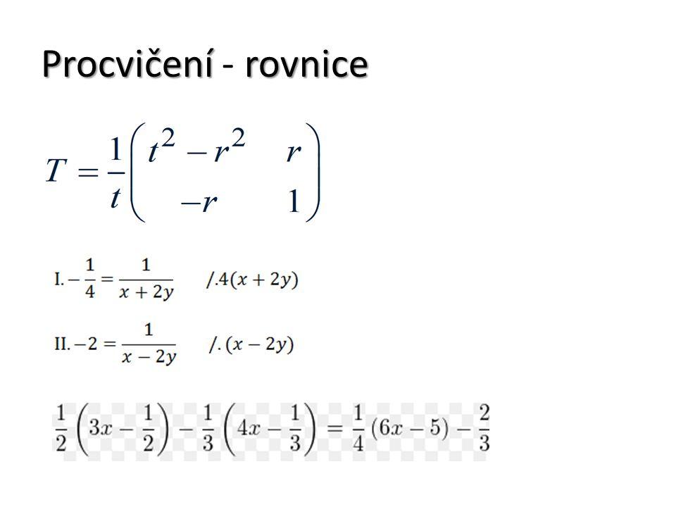 Procvičenírovnice Procvičení - rovnice
