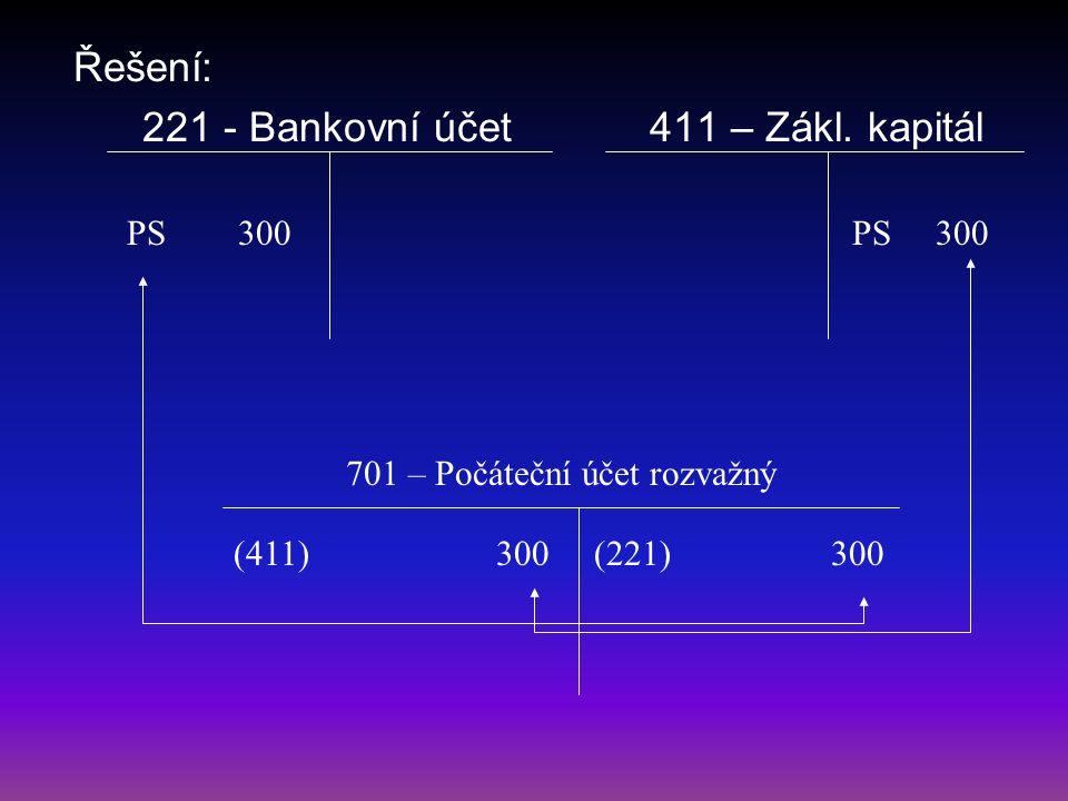 Řešení: 221 - Bankovní účet 411 – Zákl. kapitál 701 – Počáteční účet rozvažný PS 300 (411) 300 (221) 300