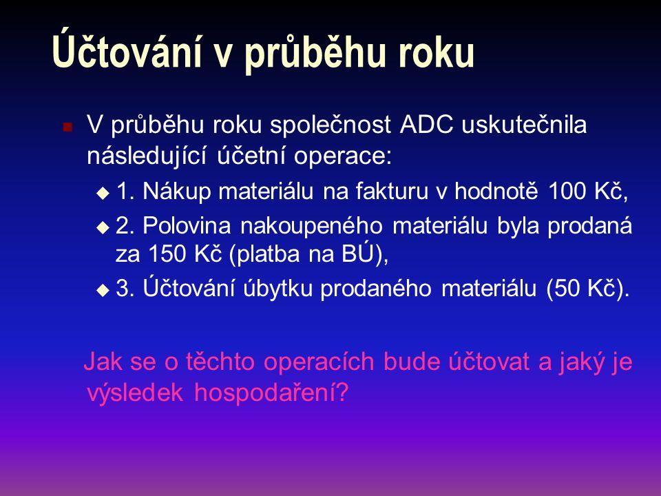 Účtování v průběhu roku V průběhu roku společnost ADC uskutečnila následující účetní operace:  1. Nákup materiálu na fakturu v hodnotě 100 Kč,  2. P