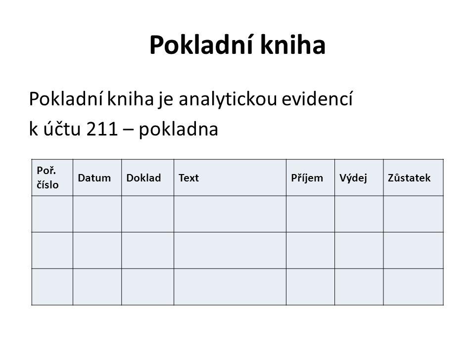 Pokladní kniha Pokladní kniha je analytickou evidencí k účtu 211 – pokladna Poř. číslo DatumDokladTextPříjemVýdejZůstatek