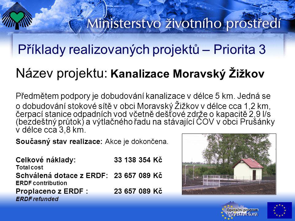 Příklady realizovaných projektů – Priorita 3 Název projektu: Kanalizace Moravský Žižkov Předmětem podpory je dobudování kanalizace v délce 5 km.