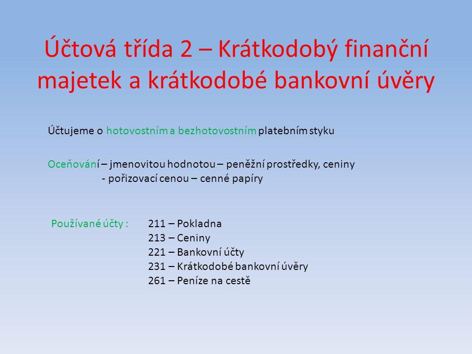 Účet 221 – Bankovní účty Banka zřizuje na základě smlouvy o vedení účtu svým klientům bankovní účet.