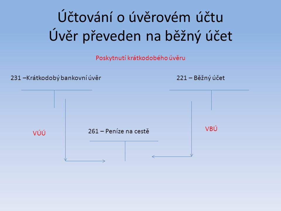 Účtování o úvěrovém účtu Úvěr převeden na běžný účet 231 –Krátkodobý bankovní úvěr221 – Běžný účet 261 – Peníze na cestě VÚÚ VBÚ Poskytnutí krátkodobé