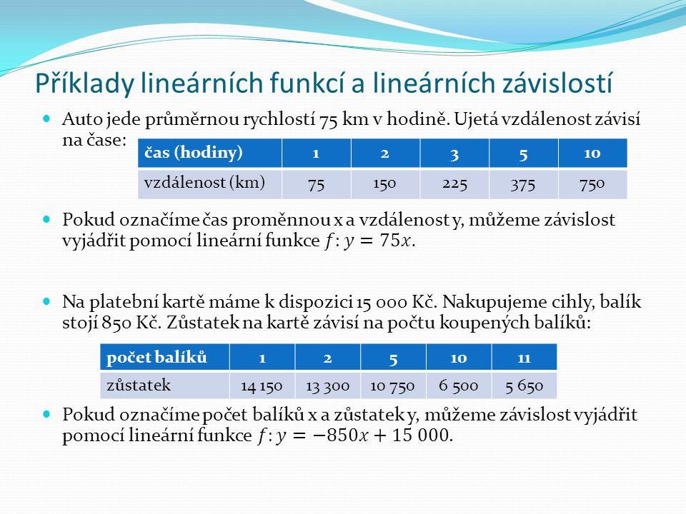 Příklady lineárních funkcí a lineárních závislostí čas (hodiny)123510 vzdálenost (km)75150225375750 počet balíků1251011 zůstatek14 15013 30010 7506 50