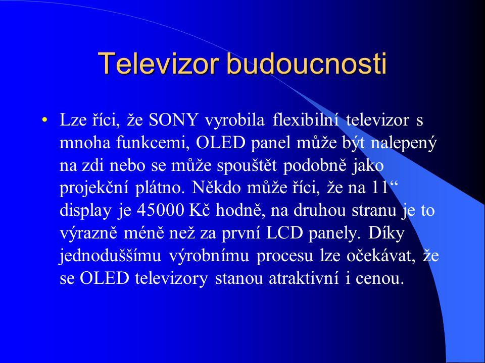 Televizor budoucnosti Lze říci, že SONY vyrobila flexibilní televizor s mnoha funkcemi, OLED panel může být nalepený na zdi nebo se může spouštět podo