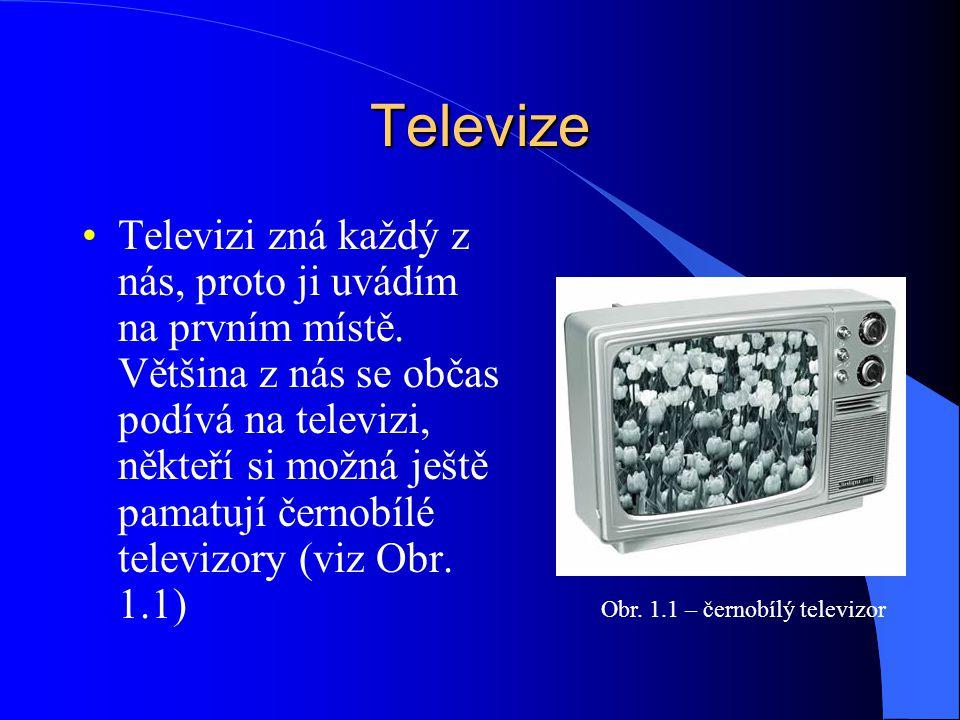 Televize Televizi zná každý z nás, proto ji uvádím na prvním místě. Většina z nás se občas podívá na televizi, někteří si možná ještě pamatují černobí